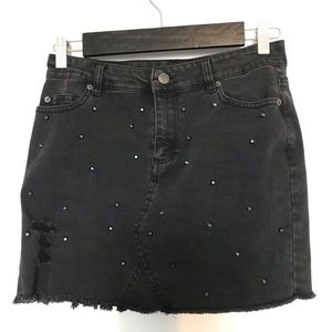 Distressed studded skirt